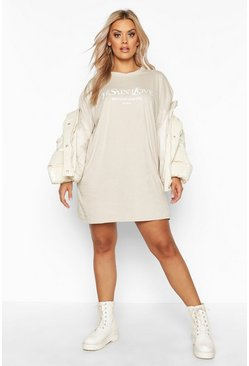 Womens Sand Plus Ye Saint Oversized Slogan T-Shirt Dress
