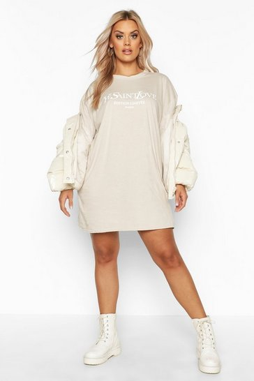 buying cheap deft design new selection Plus Ye Saint Oversized Slogan T-Shirt Dress
