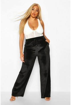 Womens Black Plus Velvet Tie Waist Wide Leg Trousers