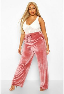 Womens Rose Plus Velvet Tie Waist Wide Leg Trousers