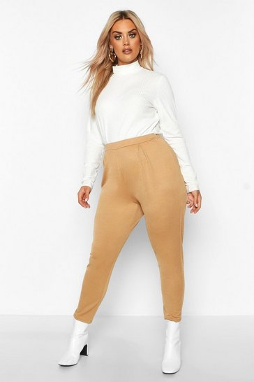 Womens Camel Plus Pleat Front Skinny Trousers