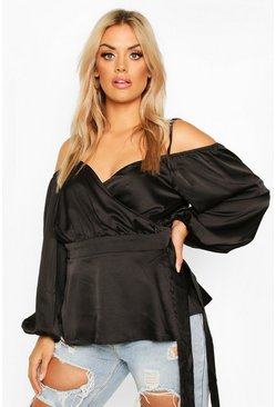 Womens Black Plus Satin Cold Shoulder Peplum Blouse