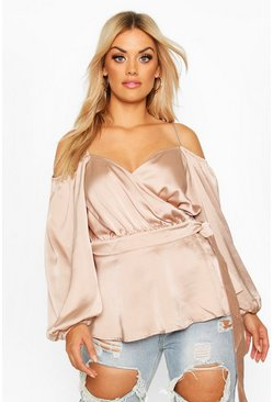 Womens Nude Plus Satin Cold Shoulder Peplum Blouse