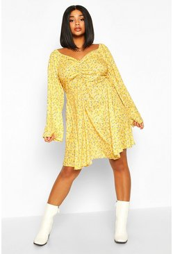 Womens Mustard Plus Ruched Puff Sleeve Floral Skater Dress