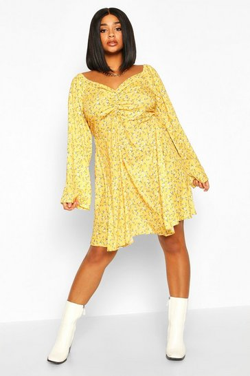Mustard Plus Ruched Puff Sleeve Floral Skater Dress