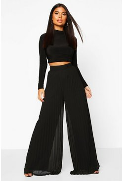 Womens Black Petite Premium Wide Leg Pleated Trousers