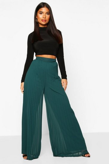 Womens Dark green Petite Premium Wide Leg Pleated Trousers