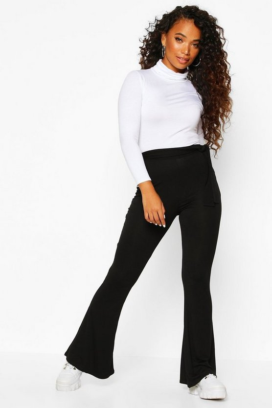 Petite Basic Jersey Belted Flares