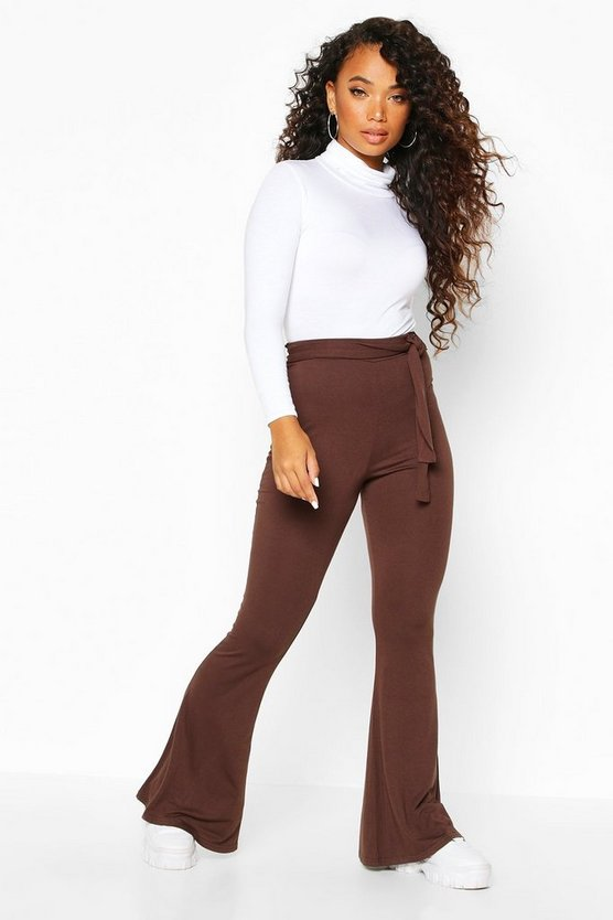 Chocolate Petite Basic Jersey Belted Flares