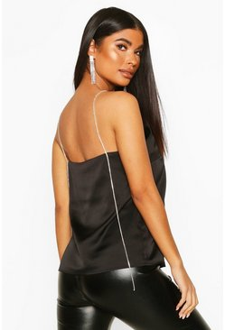 Womens Black Petite Diamante Strap Satin Cami Top