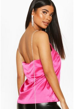 Womens Hot pink Petite Diamante Strap Satin Cami Top