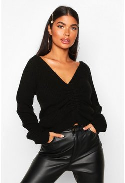 Womens Black Petite Knitted Ruched Front Jumper