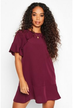 Berry Petite Drop Hem Ruffle Detail Dress