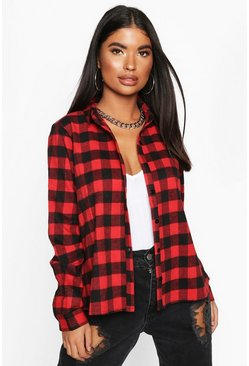 Womens Red Petite Check Swing Shirt