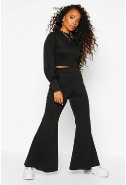 Black Petite High Neck Wide Leg Lounge Set