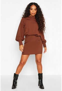 Womens Chocolate Petite High Neck Draped Mini Dress