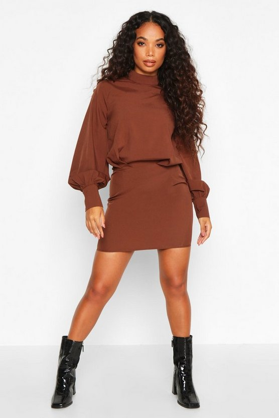 Petite High Neck Draped Mini Dress