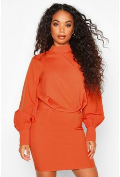 Rust Petite High Neck Draped Mini Dress