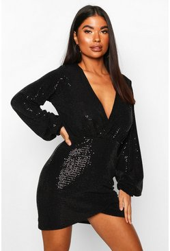 Womens Black Petite Sequin Wrap Dress
