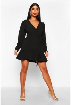 Black Petite Puff Sleeve Wrap Ruffle Dress