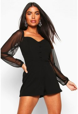 Dam Black Petite Mesh Sleeve Playsuit