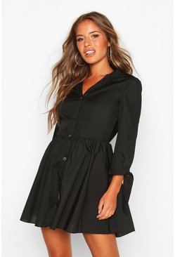 Black Petite Button Through Smock Dress
