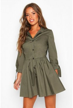 Khaki Petite Button Through Smock Dress