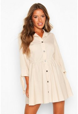 Stone Petite Button Through Smock Dress
