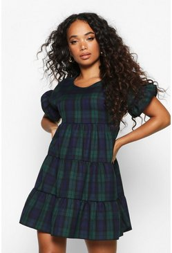 Navy Petite Checked Ruffle Sleeve Smock Dress