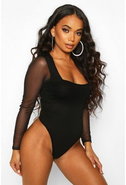 Black Petite Square Neck Mesh Sleeve Bodysuit