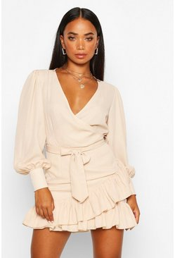 Dam Stone Petite Frill Hem Belted Wrap Dress