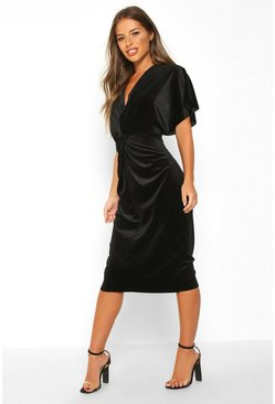 Womens Black Petite Velvet Twist Front Midi Dress