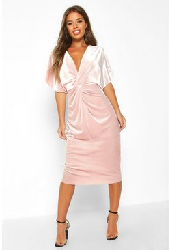 Womens Rose Petite Velvet Twist Front Midi Dress