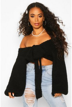 Womens Black Petite Off Shoulder Fluffy Knit Tie Front Jumper