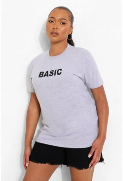 Womens Grey Plus 'Basic' T-Shirt