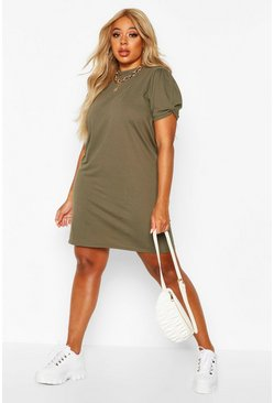 Womens Khaki Plus Ruched Knot Puff Sleeve T-Shirt Dress