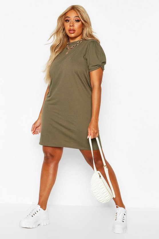 Plus Ruched Knot Puff Sleeve T Shirt Dress by Boohoo