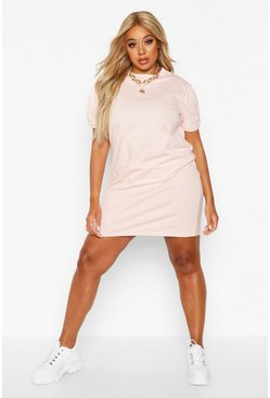 Womens Nude Plus Ruched Knot Puff Sleeve T-Shirt Dress