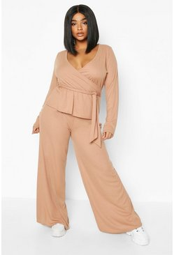 Womens Camel Plus Rib Wrap Tie Top + Trouser Co-Ord