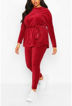 Berry Plus Velvet Tie Waist Top + Legging Two-Piece