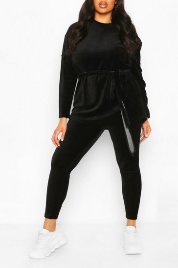 Black Plus Velvet Tie Waist Top + Legging Co-Ord