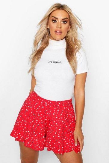 Womens Red Plus Star Print Floaty Shorts