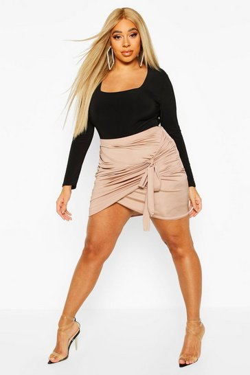 Womens Stone Plus Disco Slinky Wrap Bodycon Skirt