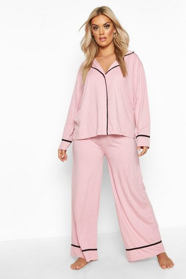 Blush Plus Long Sleeve Button Through Jersey PJ Set