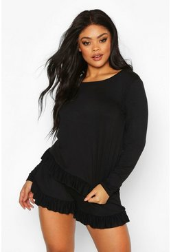 Womens Black Plus Jersey Frill Hem Long Sleeve + Short PJ Set