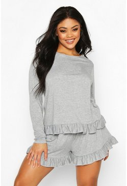 Womens Grey Plus Jersey Frill Hem Long Sleeve + Short PJ Set