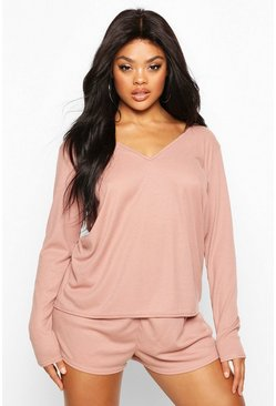 Blush Plus Rib Oversize Top + Short PJ Set