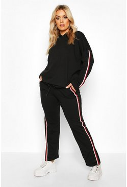 Black Plus Loopback Trim Detail Hoody + Trouser Set