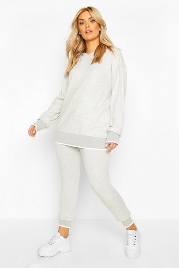 Womens Light grey Plus Brushed Knitted Lounge Set