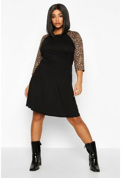 Womens Black Plus Contrast Leopard Sleeve Skater Dress